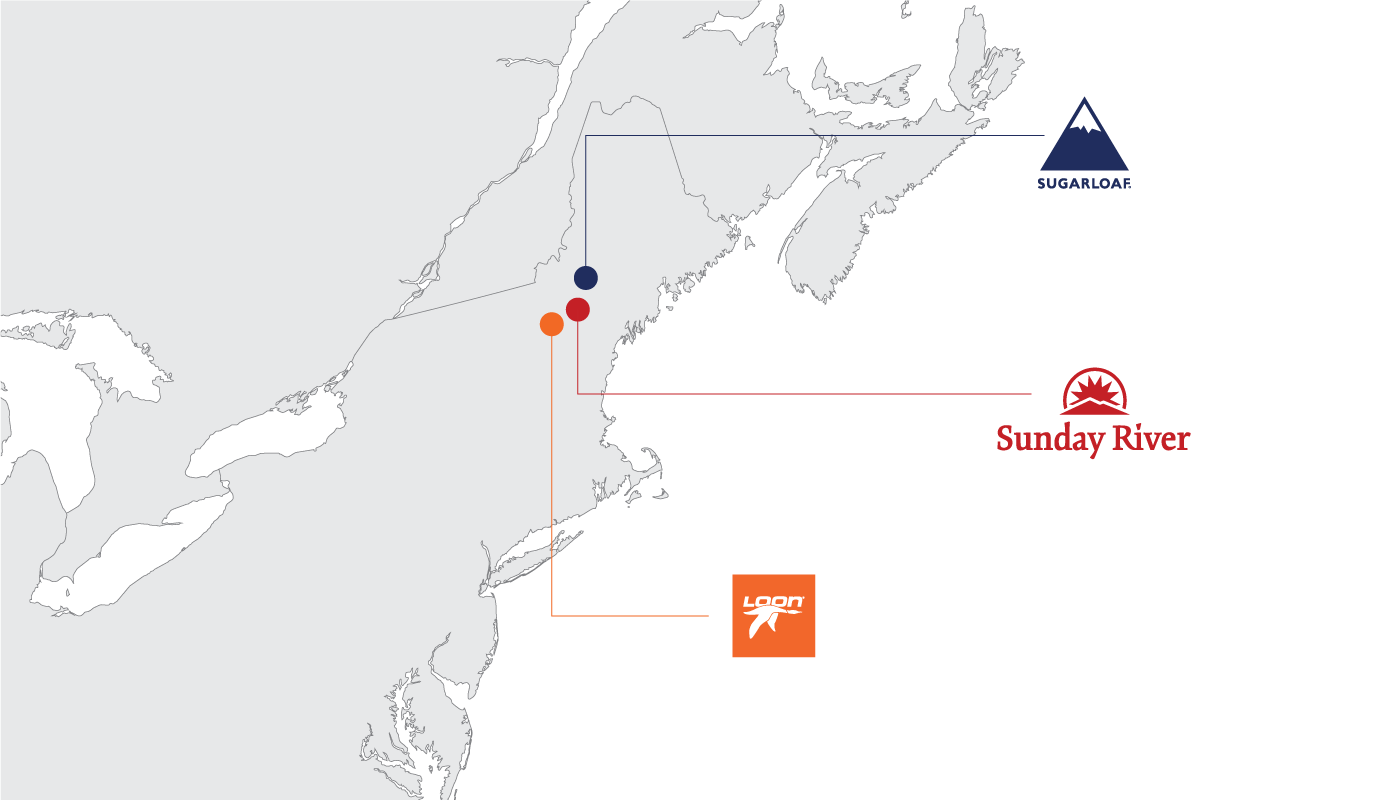 Map of the Northeastern United States showing the locations of Sunday River, Loon, and Sugarloaf Mountains